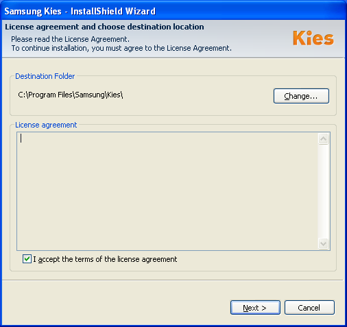 Blank license agreement from Kies